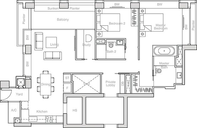 nouvel 18 2 bedroom + study