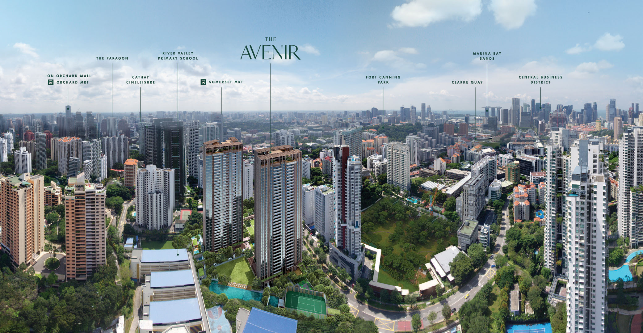 The Avenir Aerial Location Map by Jessica Siow